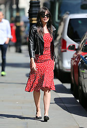 (EXCLUSIVE PICTURES) Model Daisy Lowe wearing a black leather bikers jacket, red & white polka-dot dress and a pair of Chanel pumps, treats her mum Pearl Lowe for lunch at Scott's restaurant in Mayfair, London, UK. 20/04/2016 <br /> BYLINE MUST READ : JAMESY/GOTCHA IMAGES<br /> <br /> Copyright by © Gotcha Images Ltd. All rights reserved.<br /> Usage of this image is conditional upon the acceptance <br /> of Gotcha Images Ltd, terms and conditions available at<br /> www.gotchaimages.com
