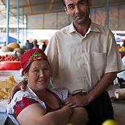 A couple working together in the market in Dashoguz, Turkmenistan