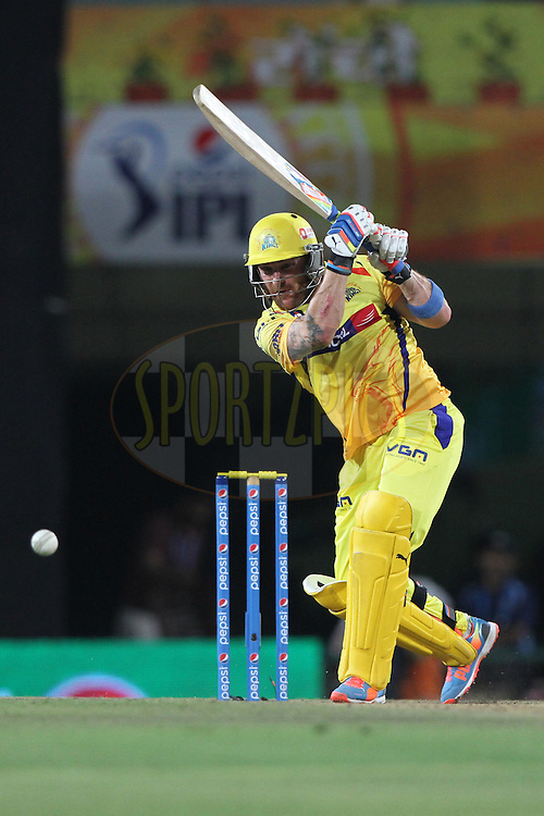 Brendon McCullum of The Chennai Superkings during match 21 of the Pepsi Indian Premier League Season 2014 between the Chennai Superkings and the Kolkata Knight Riders  held at the JSCA International Cricket Stadium, Ranch, India on the 2nd May  2014<br /> <br /> Photo by Deepak Malik / IPL / SPORTZPICS<br /> <br /> <br /> <br /> Image use subject to terms and conditions which can be found here:  http://sportzpics.photoshelter.com/gallery/Pepsi-IPL-Image-terms-and-conditions/G00004VW1IVJ.gB0/C0000TScjhBM6ikg