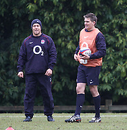 Surrey - Tuesday, February 23rd, 2010: England's Johnny Wilkinson and Toby Flood prepare for training at Pennyhill Park Hotel ahead of the RBS Six Nations match against Ireland due to take place on Saturday 27th February 2010. (Pic by Andrew Tobin/Focus Images)