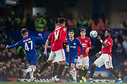 Billy Gilmour (Chelsea) kicks the ball into the path of Fred (Man United) during the EFL Cup match between Chelsea and Manchester United at Stamford Bridge, London, England on 30 October 2019.