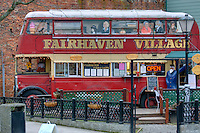 Fish and chips and ice cream vendor selling out of a double-decker bus in the Fairhaven District of Bellingham Washington USA