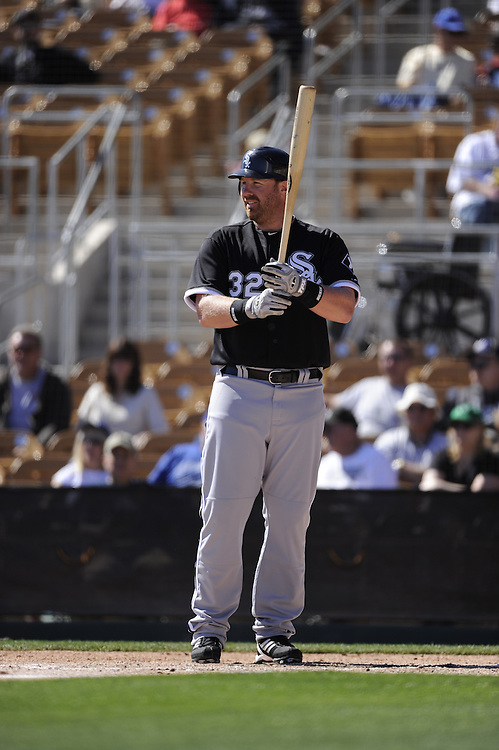 GLENDALE, AZ - FEBRUARY 28:  Adam Dunn #32 of the Chicago White Sox bats during the game against the Los Angeles Dodgers on February 28, 2011 at The Ballpark at Camelback Ranch in Glendale, Arizona. The Dodgers defeated the White Sox 6-5.  (Photo by Ron Vesely)