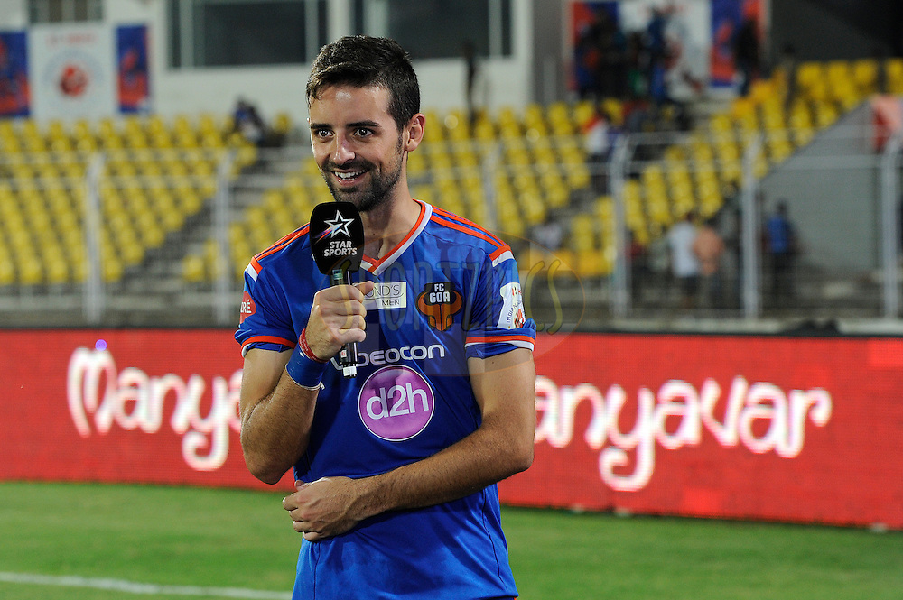 Bruno Filipe Tavares Pinheiro of FC Goa after match 46 of the Hero Indian Super League between FC Goa and North East United FC held at the Jawaharlal Nehru Stadium, Fatorda, India on the 1st December 2014.<br /> <br /> Photo by:  Pal Pillai/ ISL/ SPORTZPICS