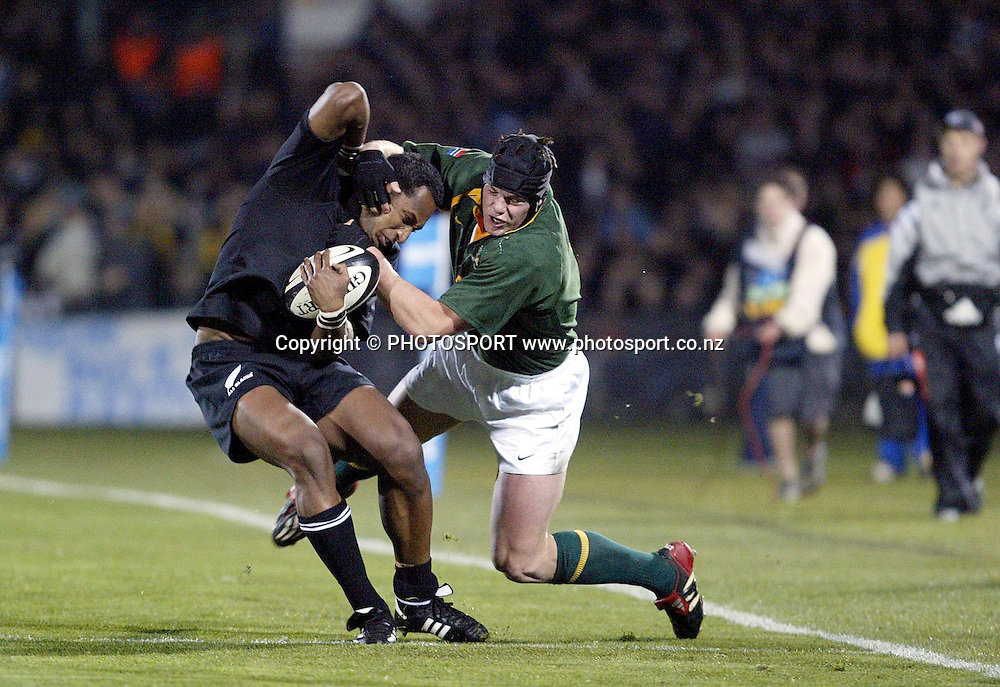 9th August, 2003. Carisbrook, Dunedin, New Zealand. <br />Tri - Nations Rugby Union. All Blacks v South Africa.<br />Joe Rokocoko.<br />The All Blacks won the match, 19 - 11.<br />Pic: Andrew Cornaga/Photosport