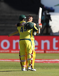 David Warner of Australia celebrates his century during the 3rd ODI match between South Africa and Australia held at Kingsmead Stadium in Durban, Kwazulu Natal, South Africa on the 5th October  2016<br /> <br /> Photo by: Steve Haag/ RealTime Images
