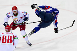 Alexander Kulakov of Belarus vs David Rodman of Slovenia during ice-hockey match between Slovenia and Belarus of Group G in Relegation Round of IIHF 2011 World Championship Slovakia, on May 8, 2011 in Orange Arena, Bratislava, Slovakia.  (Photo By Vid Ponikvar / Sportida.com)