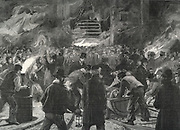 Colliery explosion at Llanerch, Monmouthshire, Wales, 1890. The midnight shift waiting to go down the shaft to recover bodies.