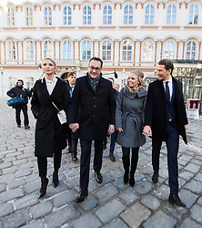 18.12.2017, Ballhausplatz, Wien, AUT, Bundesregierung, Angelobung der neuen Türkis Blauen Bundesregierung, im Bild FPÖ-Chef Heinz-Christian Strache mit seiner Frau Philippa und ÖVP-Chef Sebastian Kurz mit seiner Freundin Susanne Thier am Weg vom Außenministerium zur Hofburg // Head of the Austrian Freedom Party (FPOe) Heinz-Christian Strache with his wife Philippa and Head of the Austrian Peoples Party (OeVP) Sebastian Kurz with his girlfriend Susanne Thier during inauguration of the new government of Austrian Peoples Party and Austrian Freedom Party at Ballhausplatz in Vienna, Austria on 2017/12/18 EXPA Pictures © 2017, PhotoCredit: EXPA/ Michael Gruber
