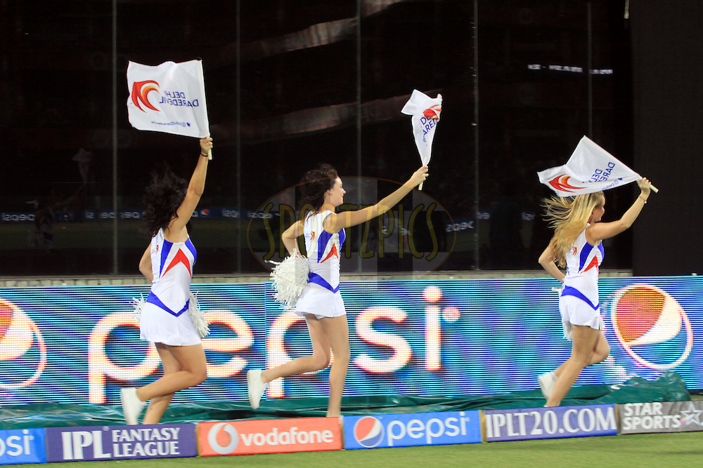Cheer leaders of  Delhi Daredevils during match 23 of the Pepsi Indian Premier League Season 2014 between the Delhi Daredevils and the Rajasthan Royals held at the Feroze Shah Kotla cricket stadium, Delhi, India on the 3rd May  2014<br /> <br /> Photo by Arjun Panwar / IPL / SPORTZPICS<br /> <br /> <br /> <br /> Image use subject to terms and conditions which can be found here:  http://sportzpics.photoshelter.com/gallery/Pepsi-IPL-Image-terms-and-conditions/G00004VW1IVJ.gB0/C0000TScjhBM6ikg