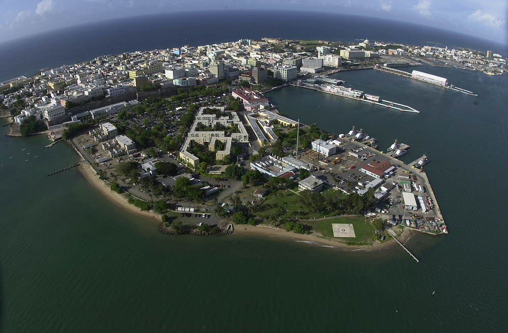 Aerial views of Coast Guard Station San Juan, Puerto Rico, as seen from a USCG HH-65B helicopter, stationed at Coast Guard Air Station Borinquen in Puerto Rico.  (U.S. Air Force photo/Master Sgt. Lance Cheung)