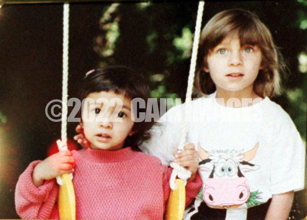 FILE PHOTO: Bipin C. Shah, not shown, announced Tuesday, April 13, 1999, that he had found his daughters, Genevieve (Vivi) Marie Shah, 6, and Sarah Lynn Shah, 8, shown in a family photo, from 1997, in Switzerland, spending $3 million in the process. He also recinded the $2 million reward offer, for information leading to the finding of his daughters. The FBI has issued a warrant for the arrest of his ex-wife, Ellen Dever, who is accused of fleeing with the children in Dec. 1997. (photo by William Thomas Cain) PHILADELPHIA INQUIRER OUT