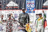 Juan Pablo Montoya, Helio Castroneves, Carlos Munoz, Pocono Raceway, USA 7/6/2014