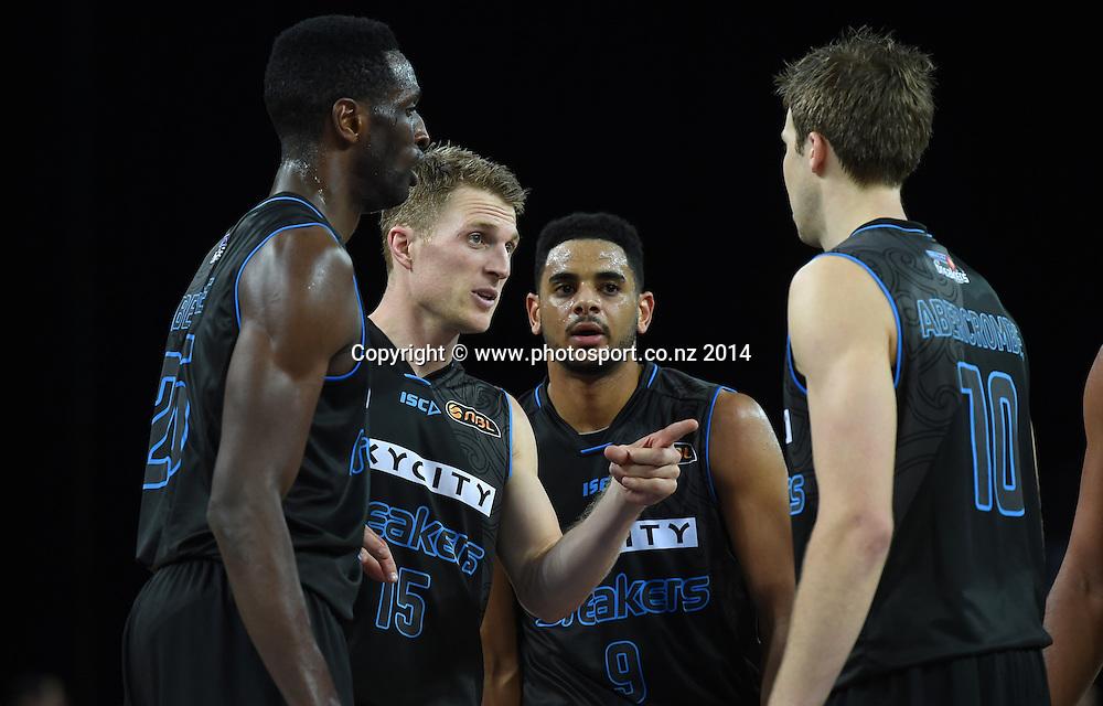 Rhys Carter talks to team mates. SkyCity Breakers v Adelaide 36ers. 2014/15 ANBL Basketball Season. Vector Arena, Auckland, New Zealand. Friday 17 October 2014. Photo: Andrew Cornaga / www.photosport.co.nz
