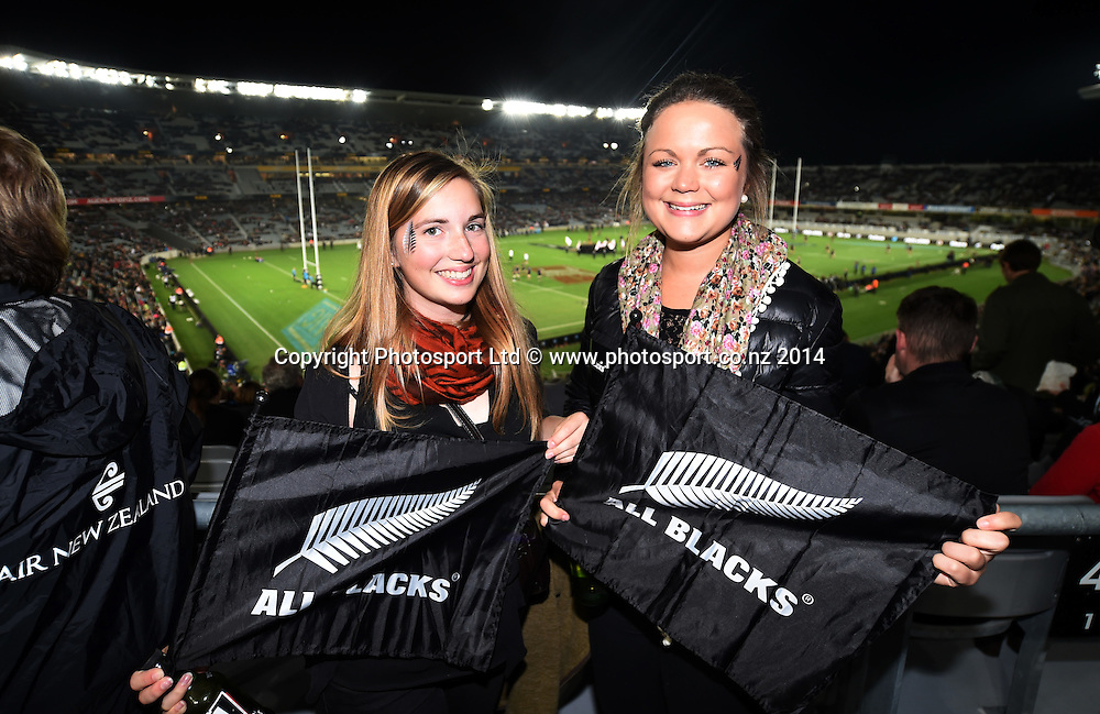 Fans in the crowd. New Zealand All Blacks versus England. Rugby Union. 1st test match of the Steinlager Series at Eden Park, Auckland. New Zealand. Saturday 7 June 2014. Photo: Andrew Cornaga/Photosport.co.nz