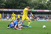 AFC Wimbledon defender & captain Barry Fuller (2) skips through Rochdale's defence during the EFL Sky Bet League 1 match between Rochdale and AFC Wimbledon at Spotland, Rochdale, England on 27 August 2016. Photo by Stuart Butcher.