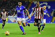 Birmingham City midfielder David Davis (26) under pressure from Brentford FC midfielder Kamohelo Mokotjo (12) during the EFL Sky Bet Championship match between Birmingham City and Brentford at St Andrews, Birmingham, England on 1 November 2017. Photo by Dennis Goodwin.