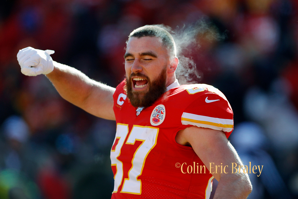 Kansas City Chiefs tight end Travis Kelce before the start of an NFL, AFC Championship football game against the Tennessee Titans, Sunday, Jan. 19, 2020, in Kansas City, MO. The Chiefs won 35-24 to advance to Super Bowl 54. Photo by Colin Eric Braley Photography Colin Eric Braley Photography