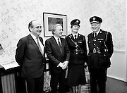 Phyllis Nolan, the first female Garda to reach the rank of Superintendent, pays a courtesy call to An Taoiseach Charles Haughey TD. She is pictured here with Gerry Collins TD, Minister for Justice, An Taoiseach Charles Haughey TD and Garda Commissioner Eugene Crowley, at the office of An Taoiseach in Government Buildings.<br />