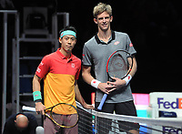 Tennis - 2018 Nitto ATP Finals at The O2 - Day Two<br /> <br /> Mens singles : Kevin Anderson (RSA) v Kei Nishikori (JPN)<br /> <br /> Anderson and Nishikori pose before the match.<br /> <br /> COLORSPORT/ANDREW COWIE