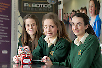 19/04/2013. REPRO free.Ireland trailblazes with first ever Irish Junior Mini Sumo Robot Tournament..Laura Burke, Rebecca Lawless and Roisin McGovern from Davitt College Castlebar at the Galway Education Centre on the west coast of Ireland who hosted Irish students from all over the country and led the way as they competed in the inaugural Irish Junior Mini Sumo Robot Tournament - the first tournament of its kind in either Ireland or the UK.  Run by Robotics Ireland, the critical aim of this event was to encourage young Irish students to recognise the vital role which Robots will play in all of our futures and to inspire them to embrace this in a creative and fun way. 84 students from 9 schools all over the country competed against each other over the course of the day to see which of their 40 robots would survive and claim the title Irish Junior Mini Sumo Robot Champion for the very first time  Photo:Andrew Downes..