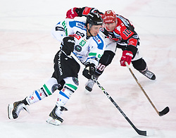 28.12.2015, Tiroler Wasserkraft Arena, Innsbruck, AUT, EBEL, HC TWK Innsbruck die Haie vs HDD TELEMACH Olimpija Ljubljana, 36. Runde, im Bild vl.:  Nardo Nagtzaam (HDD Telemach Olimpija Ljubljana), Partick Moessmer (HC TWK Innsbruck Die Haie) // during the Erste Bank Icehockey League 36th round match between HC TWK Innsbruck  die Haie and HDD TELEMACH Olimpija Ljubljana at the Tiroler Wasserkraft Arena in Innsbruck, Austria on 2015/12/28. EXPA Pictures © 2015, PhotoCredit: EXPA/ Jakob Gruber
