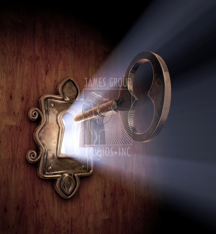 A close-up of a key moving towards the key hole.