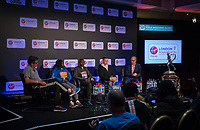 The final press conference with Tim Hutchings featuring Elite Women's Race winner Mary Keitany KEN, Elite Men's Race winner Daniel Wanjiru KEN, Elite Men's Wheelchair race winner David Weir GBR and London Marathon Race Director Hugh Brasher at the Guoman Tower Hotel on the morning after the race. The Virgin Money London Marathon, 24th April 2017.<br /> <br /> Photo: Neil Turner for Virgin Money London Marathon<br /> <br /> For further information: media@londonmarathonevents.co.uk
