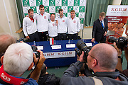 (L-R) Lukasz Kubot &amp; Jerzy Janowicz &amp; Radoslaw Szymanik - captain national team &amp; Mariusz Fyrstenberg &amp; Marcin Matkowski all from Poland while press conference three days before the BNP Paribas Davis Cup 2013 between Poland and Australia at Torwar Hall in Warsaw on September 10, 2013.<br /> <br /> Poland, Warsaw, September 10, 2013<br /> <br /> Picture also available in RAW (NEF) or TIFF format on special request.<br /> <br /> For editorial use only. Any commercial or promotional use requires permission.<br /> <br /> Photo by &copy; Adam Nurkiewicz / Mediasport