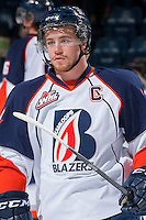 KELOWNA, CANADA - NOVEMBER 30: Matt Needham C #14 of the Kamloops Blazers skates on the ice during warm up against the Kelowna Rockets on November 30, 2013 at Prospera Place in Kelowna, British Columbia, Canada.   (Photo by Marissa Baecker/Shoot the Breeze)  ***  Local Caption  ***
