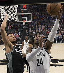 March 1, 2018 - Sacramento, CA, USA - The Sacramento Kings' Skal Labissiere (7) defends against the Brooklyn Nets' Rondae Hollis-Jefferson (24) at the Golden 1 Center in Sacramento, Calif., on Thursday, March 1, 2018. (Credit Image: © Hector Amezcua/TNS via ZUMA Wire)