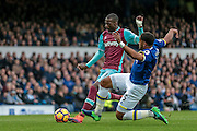 Ashley Williams (Everton) slides in to stop Pedro Obiang (West Ham United) getting a shot in on the Everton goal during the Premier League match between Everton and West Ham United at Goodison Park, Liverpool, England on 30 October 2016. Photo by Mark P Doherty.