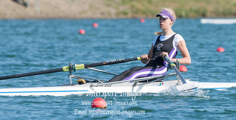 Caversham. Reading,  Women's Lightweight Single Sculls  Time Trial, Lucy CRUXTON,  competing at the  GBRowing Team Trials, 18.04.2015. [Mandatory Credit: Peter Spurrier/Intersport-images.com
