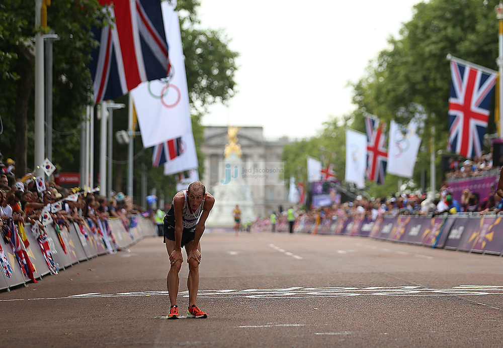 Scott Overall of Great Britain looks on after the men's marathon during day 16 of the London Olympic Games in London, England, United Kingdom on August 12, 2012..(Jed Jacobsohn/for The New York Times)...