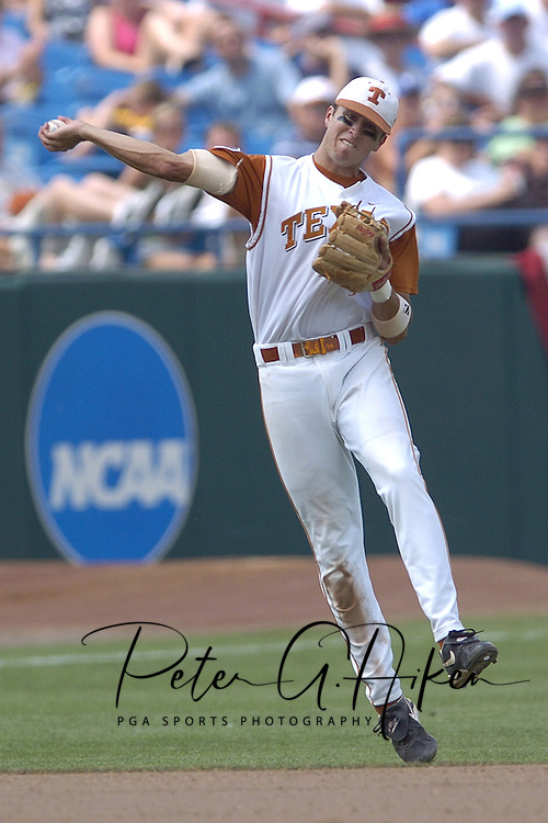 Texas shortstop Seth Johnston gets ready to throw the ball to first base against the Florida Gators.  Texas defeated Florida 6-2 for the National Championship at the College World Series at Rosenblatt Stadium in Omaha, Nebraska on June 26, 2005.
