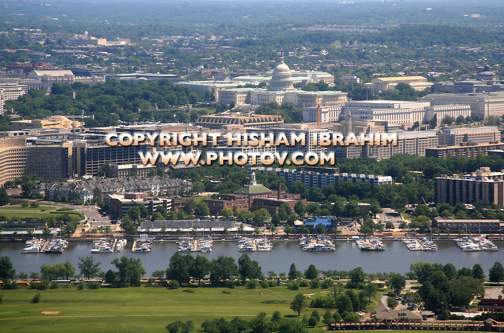 Aerial View of Washington DC featuring The US Capitol Building, Union Station, Eastern Harbor Waterfront and the Potomac River.