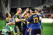 Jackson Hemopo celbrates his try for Otago in the ITM Cup Rugby Match. Otago v Manawatu at Forsyth Barr Stadium, Dunedin, New Zealand. Friday 10 October 2014. New Zealand. Photo: Richard Hood/photosport.co.nz