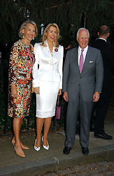 Left to right, LUCE CHURCHILL, the BEGUM INAARA AGA KHAN and WINSTON CHURCHILL at Sir David & Lady Carina Frost's annual summer party held in Carlyle Square, Chelsea, London on 5th July 2006.<br />