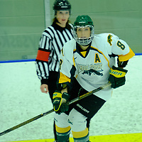 5th year forward Bailey Braden (8) of the Regina Cougars in action during the Women's Hockey Home Game on October 21 at Co-operators Arena. Credit Matt Johnson/©Arthur Images 2017