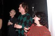 Anthony Fawcett, Richard Holgate and Karen Coughlan, Becks Futures 2003 awards evening. I.C.A. 29 April 2003. © Copyright Photograph by Dafydd Jones 66 Stockwell Park Rd. London SW9 0DA Tel 020 7733 0108 www.dafjones.com