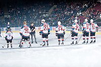 KELOWNA, CANADA, FEBRUARY 8: The Kelowna Rockets starting line up stands on the ice as the Seattle Thunderbirds visit the Kelowna Rockets on February 8, 2012 at Prospera Place in Kelowna, British Columbia, Canada (Photo by Marissa Baecker/www.shootthebreeze.ca) *** Local Caption ***