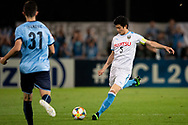 SYDNEY, AUSTRALIA - MAY 21: Kawasaki Frontale player Shogo Taniguchi (5) kicks the ball at AFC Champions League Soccer between Sydney FC and Kawasaki Frontale on May 21, 2019 at Netstrata Jubilee Stadium, NSW. (Photo by Speed Media/Icon Sportswire)