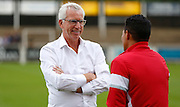 Alan Pardew in a relaxed mood before the Pre-Season Friendly match between Bromley and Crystal Palace at the Courage Stadium, Bromley, United Kingdom on 30 July 2015. Photo by Michael Hulf.