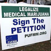 Marijuana supporters sign a petition at the PUFFM booth during the Earthday Birthday Concert at the Citrus Bowl in Central Florida, for medicinal use by a cancer patients. State residents, with the help of a group called United for Care, are urging backers to sign petitions to get the legalization of medicinal marijuana on the ballot for the early 2014 Florida legislative session. This image taken in Central Florida on Saturday, April 13, 2013. (Photo/Alex Menendez)