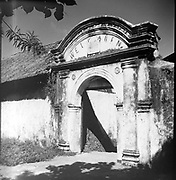 Entry arch of the Dutch colonial Welvaren nutmeg plantation on Pulau Ai, Maluku, Indonesia