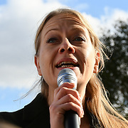Green Party - Siân Berry against Sadiq Khan has agreed to binding ballots in some circumstances, but there should be no exceptions of Hundreds of council tenants across London face the destruction of their homes and communities, without any say. The rally will bring together people from some of the 80 estates in the city currently facing demolition, with campaigners demanding Safe, Secure Homes for All outside City Hall on 3 November 2018, London, UK.