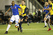 Calvin Andrew shoots during the The FA Cup match between Slough Town and Rochdale at Arbour Park, Slough, United Kingdom on 4 December 2017. Photo by Daniel Youngs.