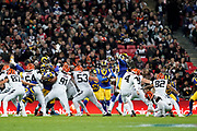 Cincinnati Bengals Kicker Randy Bullock (4) kicks a field goal during the International Series match between Los Angeles Rams and Cincinnati Bengals at Wembley Stadium, London, England on 27 October 2019.