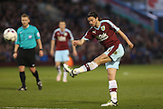 George Boyd of Burnley tries a shot during the Sky Bet Championship match between Burnley and Middlesbrough at Turf Moor, Burnley, England on 19 April 2016. Photo by Simon Brady.