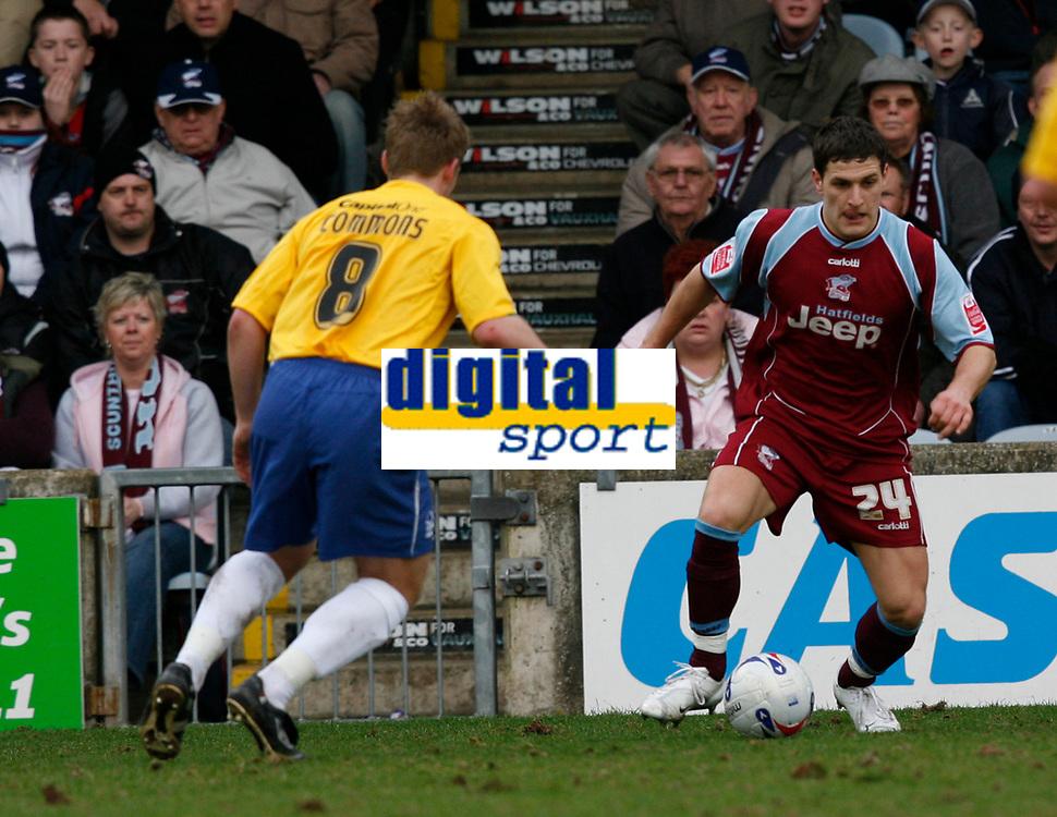 Photo: Steve Bond.<br />Scunthorpe United v Nottingham Forest. Coca Cola League 1. 10/03/2007. Billy Sharp (right) attacks Kris Commons (left)